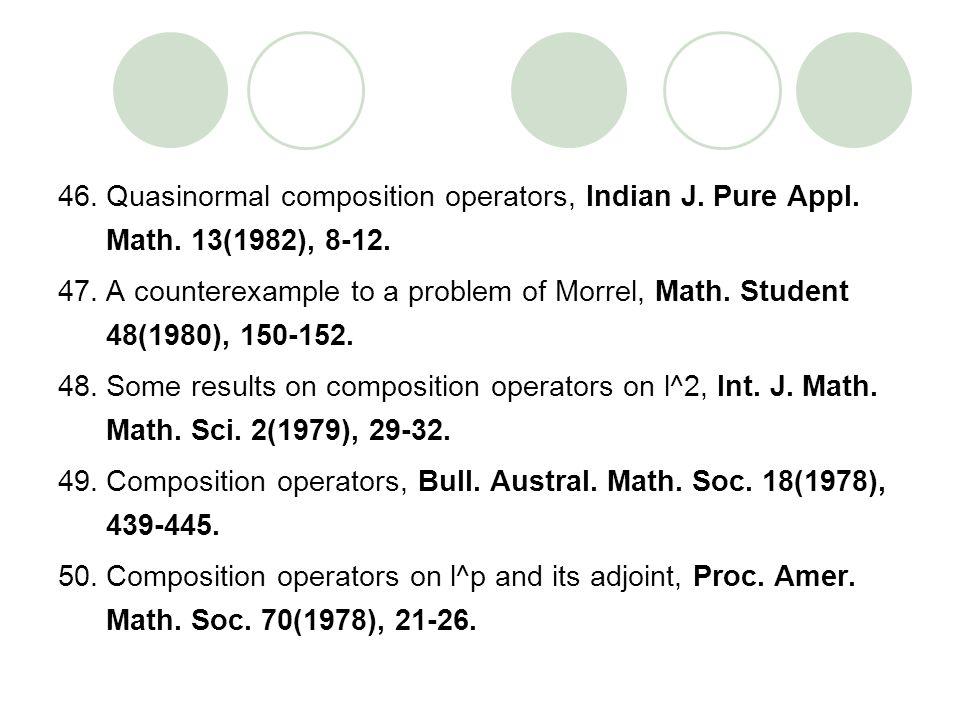 Quasinormal composition operators, Indian J. Pure Appl. Math