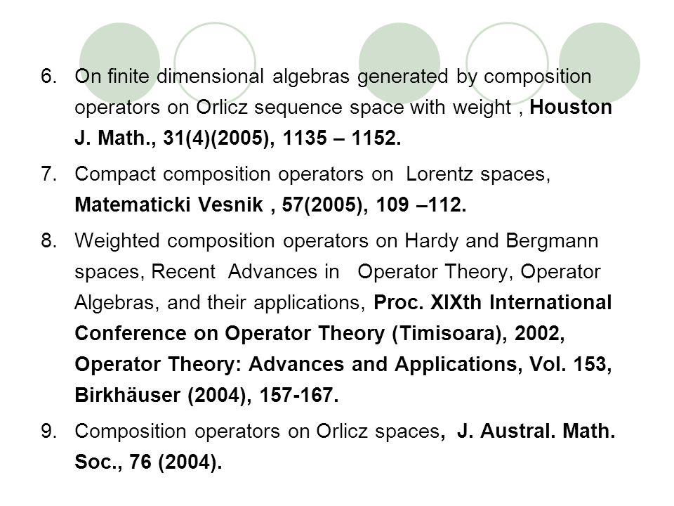 On finite dimensional algebras generated by composition operators on Orlicz sequence space with weight , Houston J. Math., 31(4)(2005), 1135 – 1152.