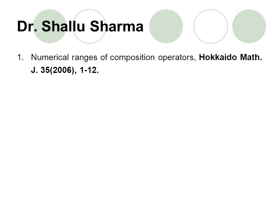 Dr. Shallu Sharma Numerical ranges of composition operators, Hokkaido Math. J. 35(2006), 1-12.