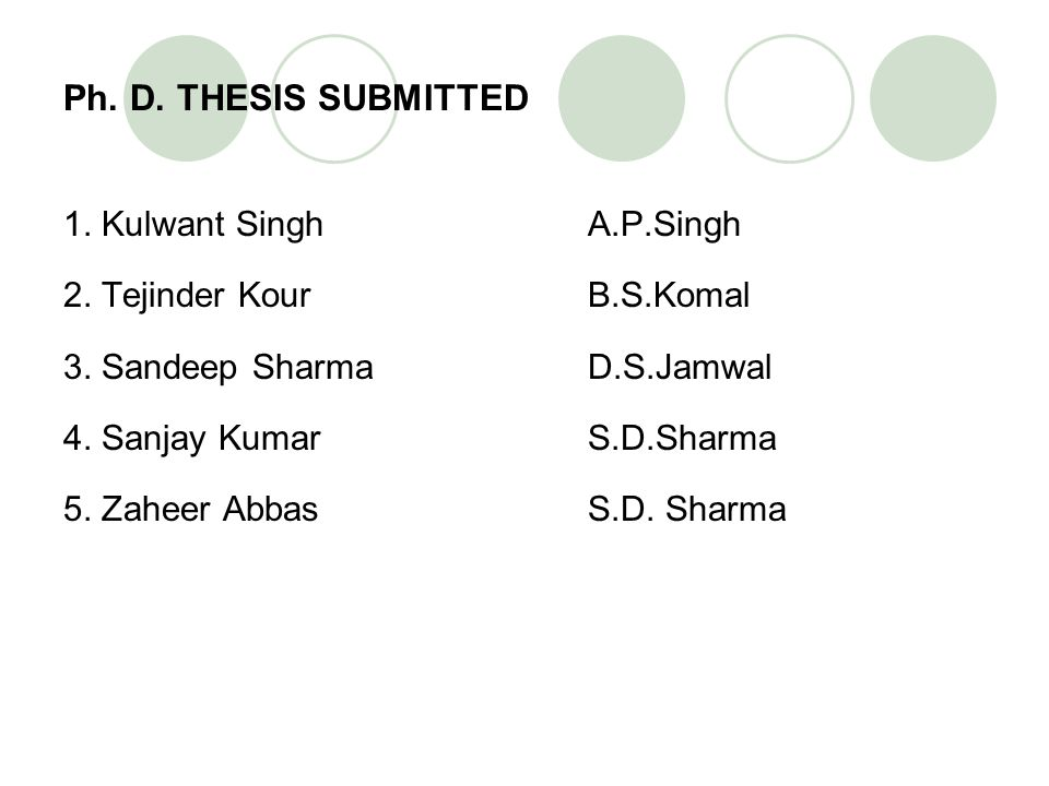 Ph. D. THESIS SUBMITTED 1. Kulwant Singh A.P.Singh