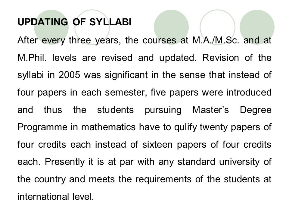 UPDATING OF SYLLABI