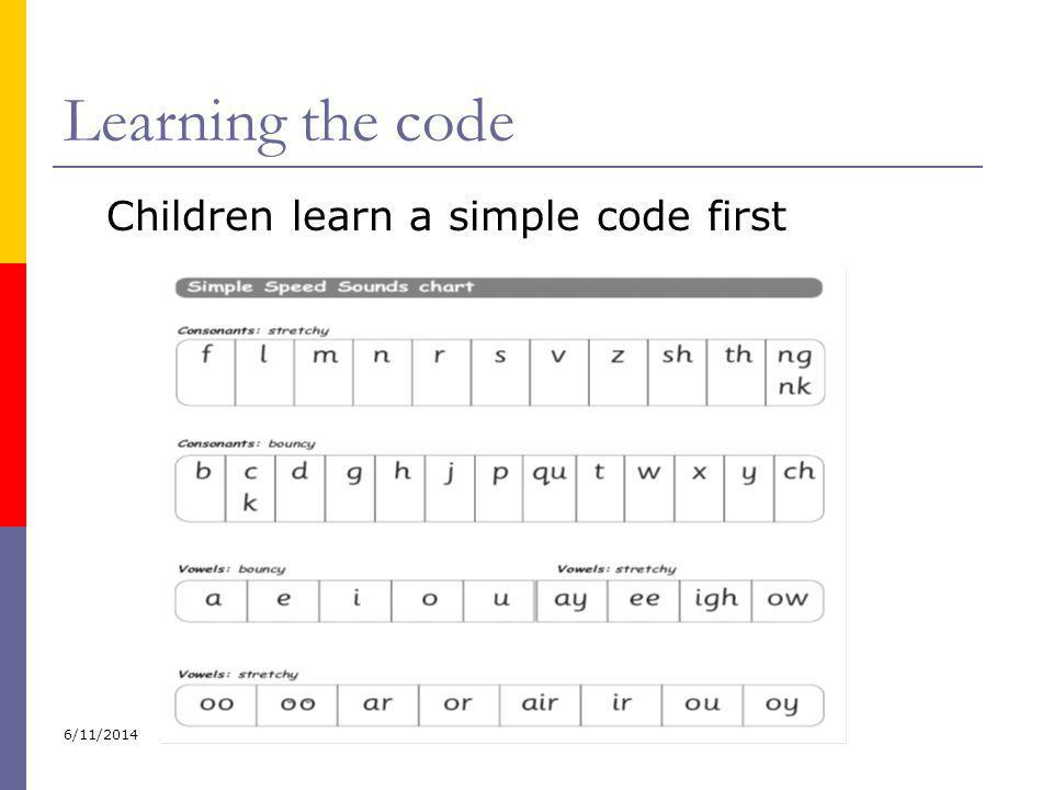 Learning the code Children learn a simple code first