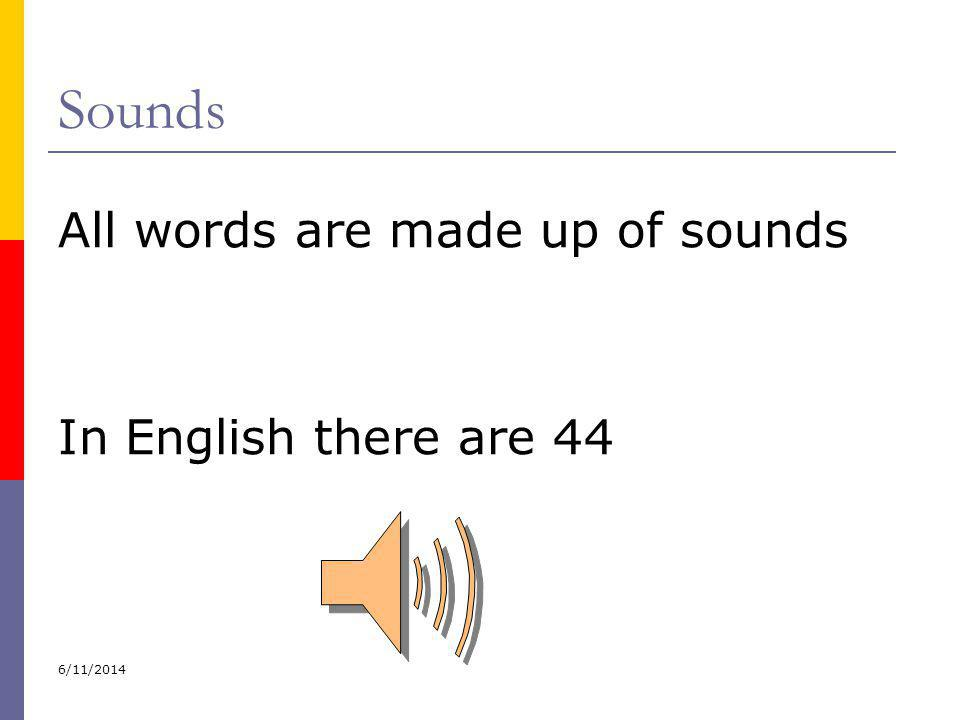 Sounds All words are made up of sounds In English there are 44