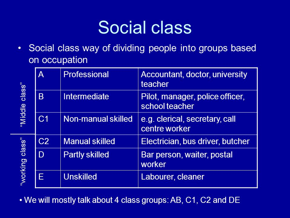 Social class Social class way of dividing people into groups based on occupation. A. Professional.