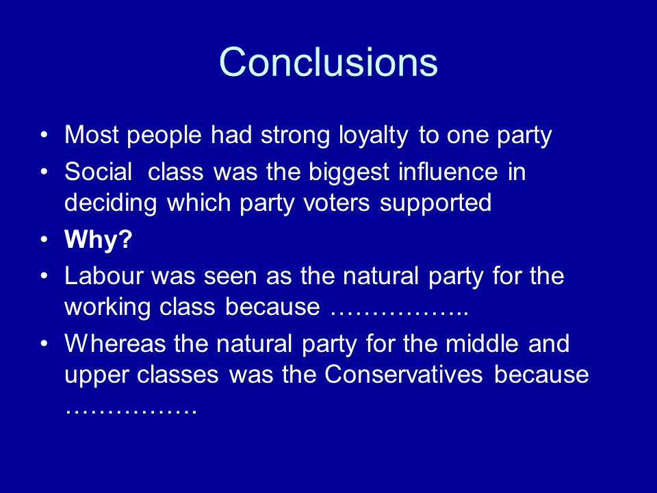 Conclusions Most people had strong loyalty to one party