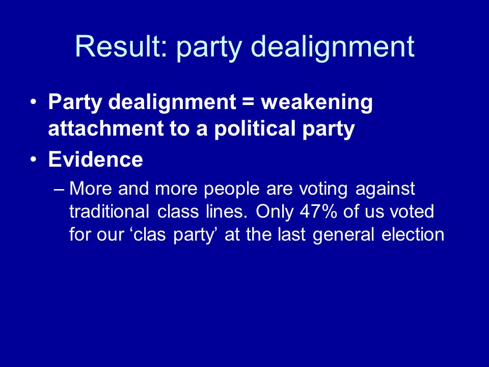 Result: party dealignment