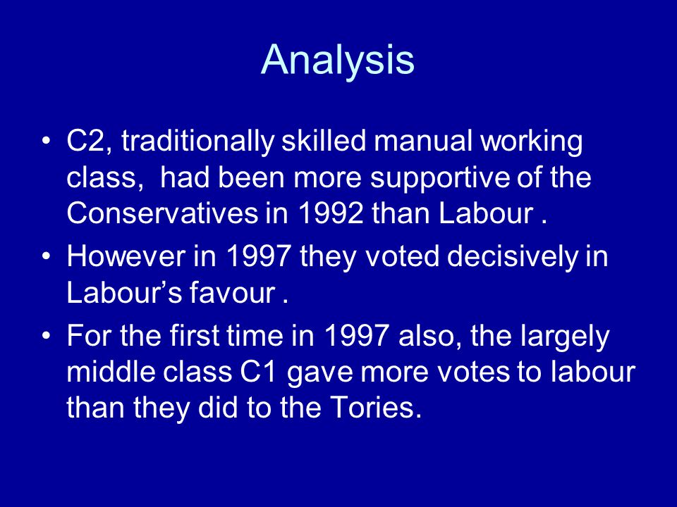 Analysis C2, traditionally skilled manual working class, had been more supportive of the Conservatives in 1992 than Labour .