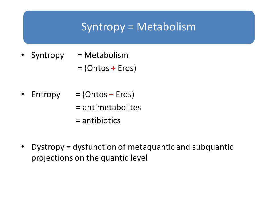 Syntropy = Metabolism Syntropy = Metabolism = (Ontos + Eros)