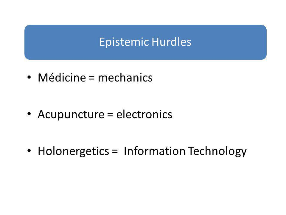 Epistemic Hurdles Médicine = mechanics. Acupuncture = electronics.