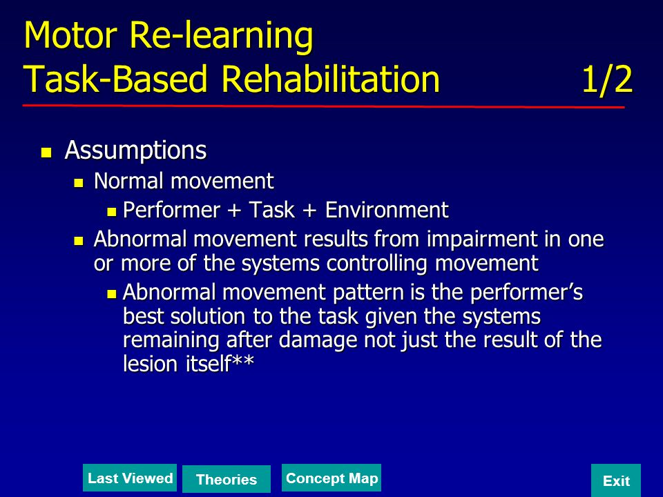 Motor Re-learning Task-Based Rehabilitation 1/2