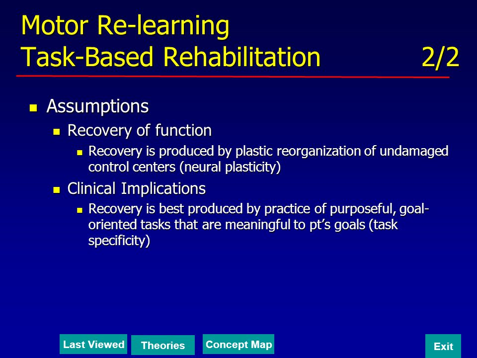 Motor Re-learning Task-Based Rehabilitation 2/2