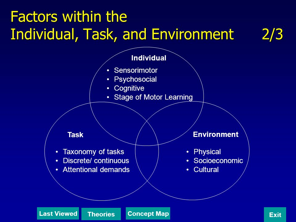Factors within the Individual, Task, and Environment 2/3