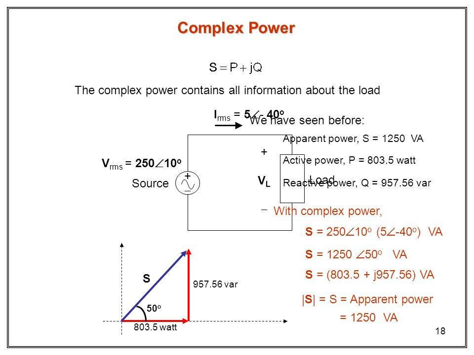 Complex Power The complex power contains all information about the load. Irms = 5- 40o. Vrms = 25010o.
