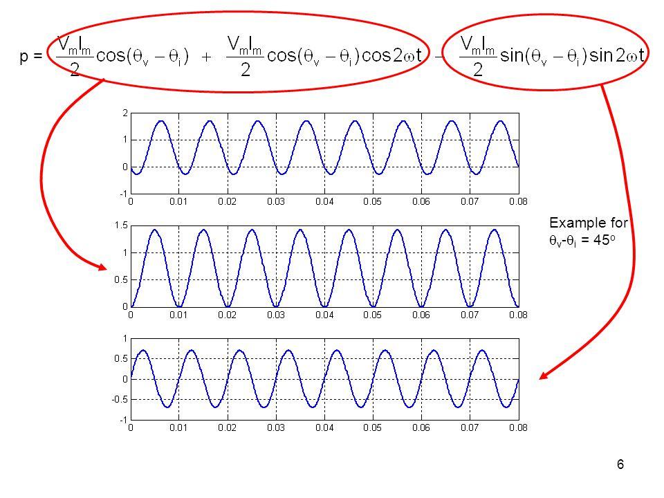 p = Example for v-i = 45o