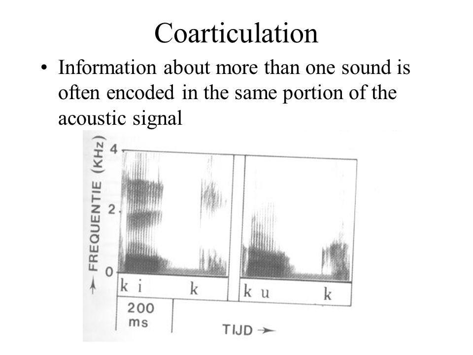 Coarticulation Information about more than one sound is often encoded in the same portion of the acoustic signal.