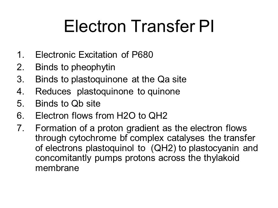 Electron Transfer PI Electronic Excitation of P680 Binds to pheophytin