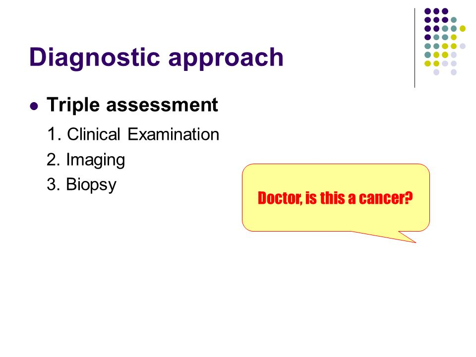 Diagnostic approach Triple assessment 1. Clinical Examination