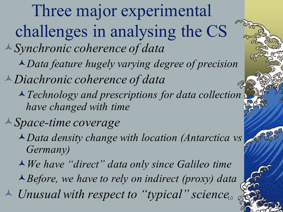Three major experimental challenges in analysing the CS
