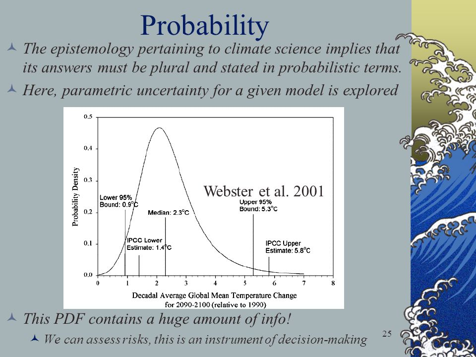 Probability The epistemology pertaining to climate science implies that its answers must be plural and stated in probabilistic terms.