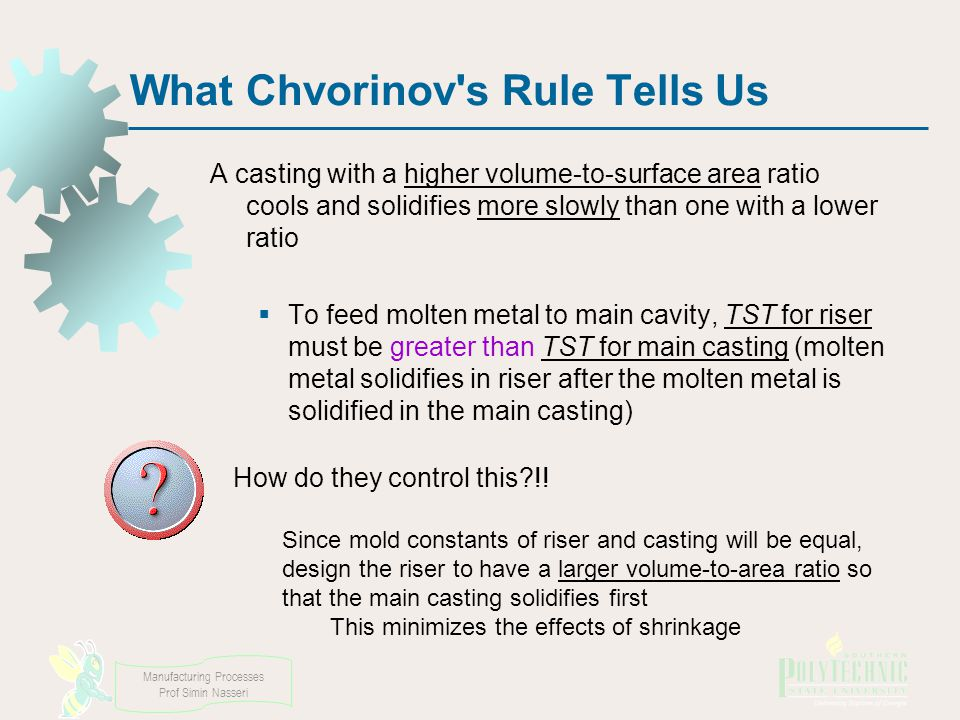 What Chvorinov s Rule Tells Us