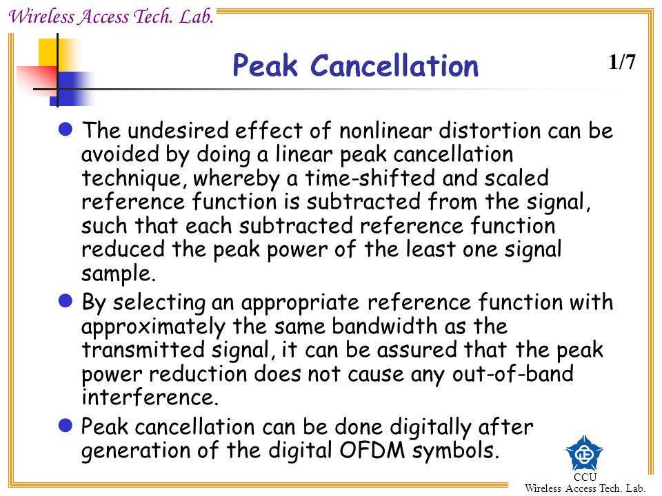 Peak Cancellation 1/7.