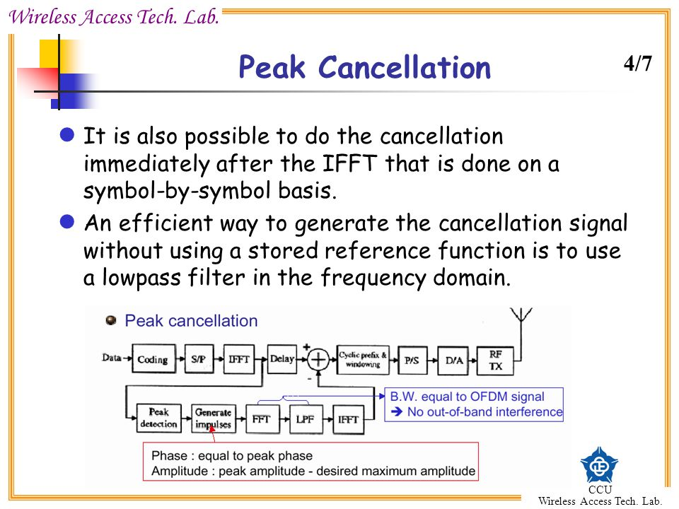 Peak Cancellation 4/7. It is also possible to do the cancellation immediately after the IFFT that is done on a symbol-by-symbol basis.