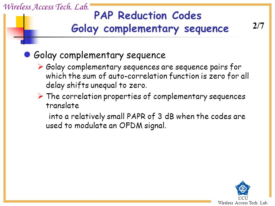 PAP Reduction Codes Golay complementary sequence