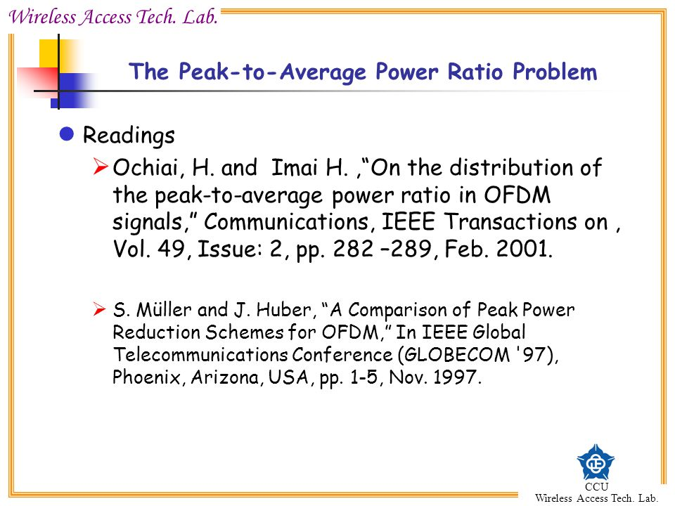 The Peak-to-Average Power Ratio Problem
