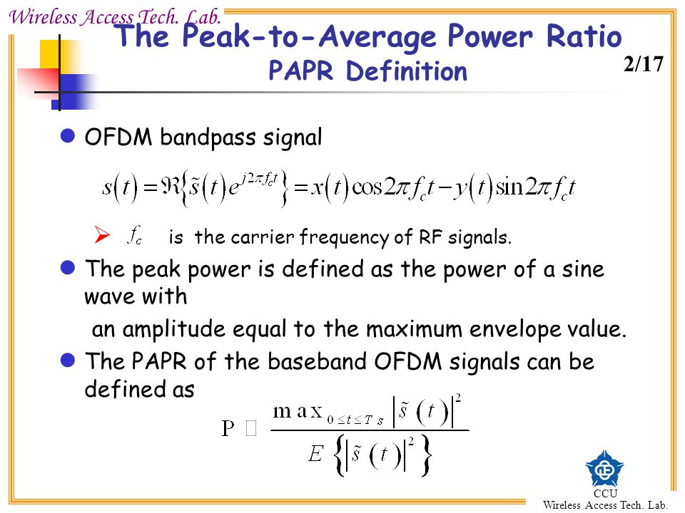 The Peak-to-Average Power Ratio PAPR Definition
