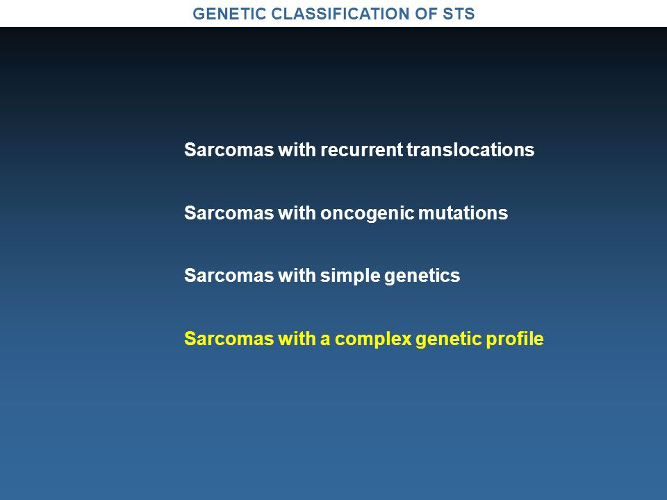 GENETIC CLASSIFICATION OF STS