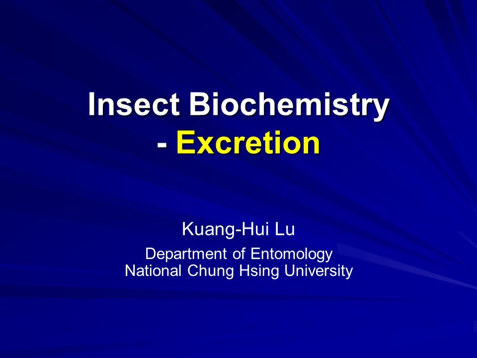 Insect Biochemistry - Excretion