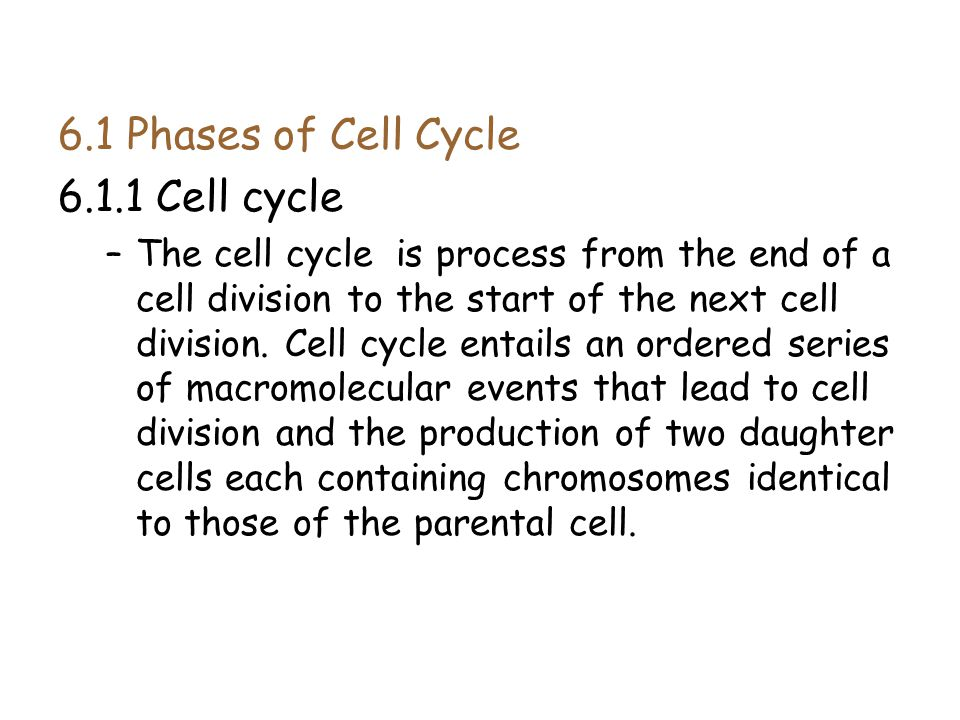 6.1 Phases of Cell Cycle 6.1.1 Cell cycle