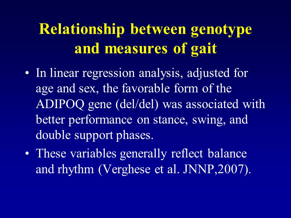 Relationship between genotype and measures of gait