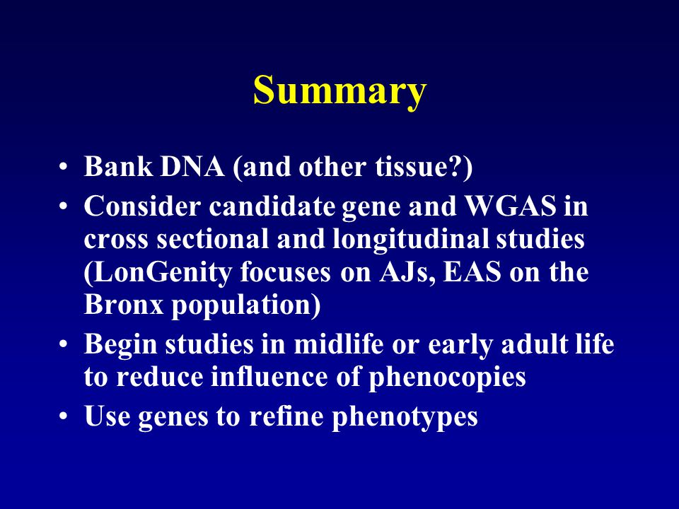 Summary Bank DNA (and other tissue )