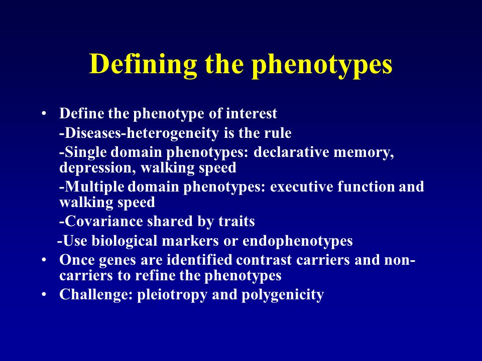 Defining the phenotypes
