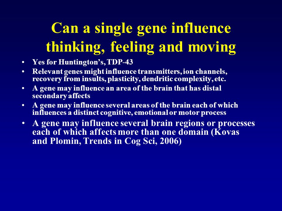 Can a single gene influence thinking, feeling and moving