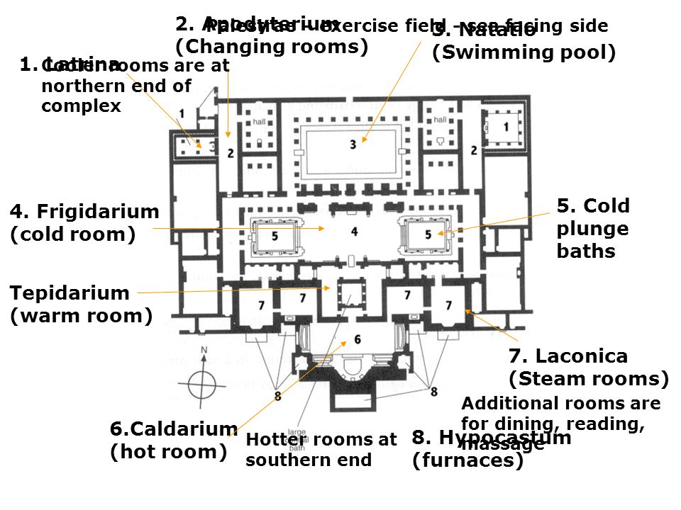 2. Apodyterium (Changing rooms) 3. Natatio (Swimming pool)