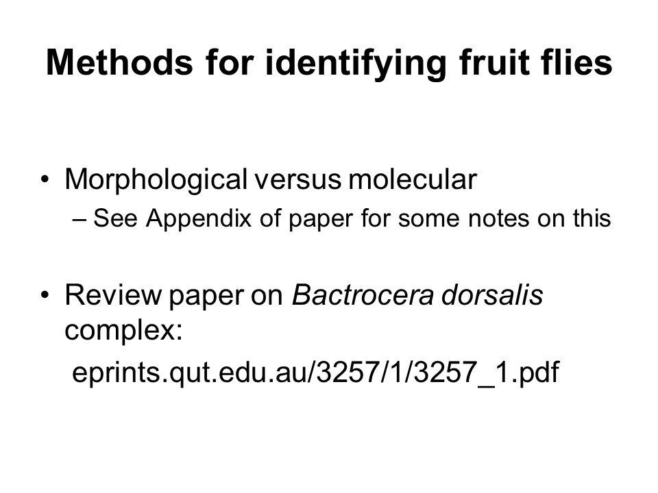 Methods for identifying fruit flies