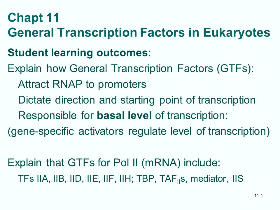Chapt 11 General Transcription Factors in Eukaryotes