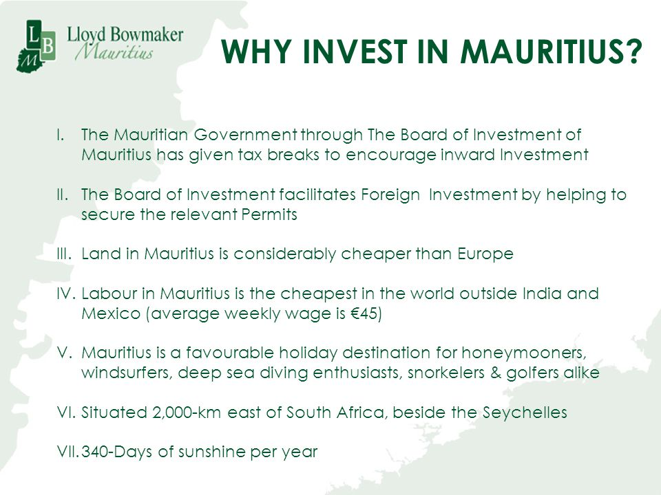 WHY INVEST IN MAURITIUS