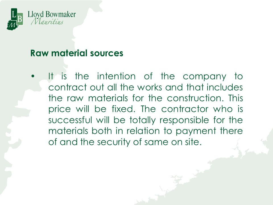 Raw material sources