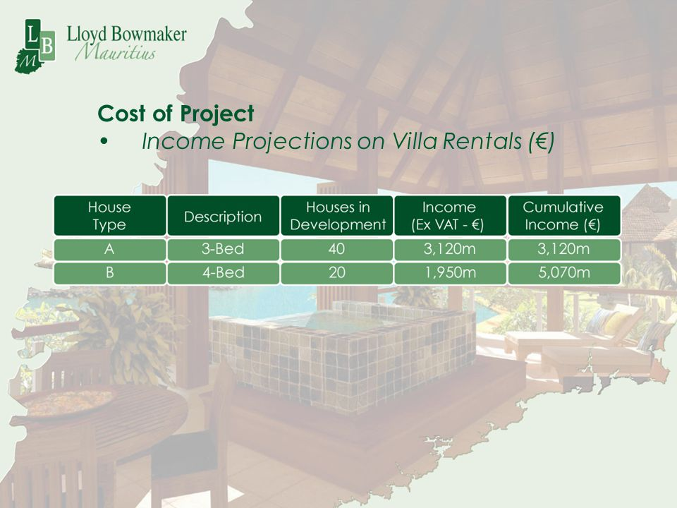 Cost of Project Income Projections on Villa Rentals (€)