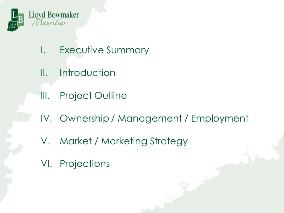 Executive Summary Introduction. Project Outline. Ownership / Management / Employment. Market / Marketing Strategy.