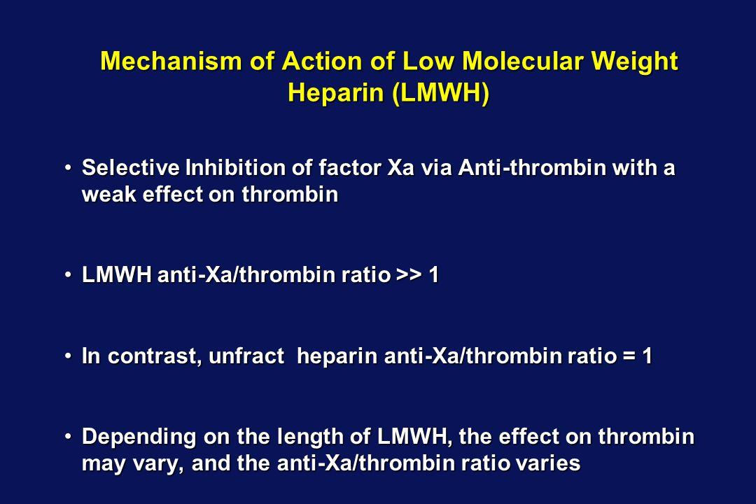 Mechanism of Action of Low Molecular Weight Heparin (LMWH)