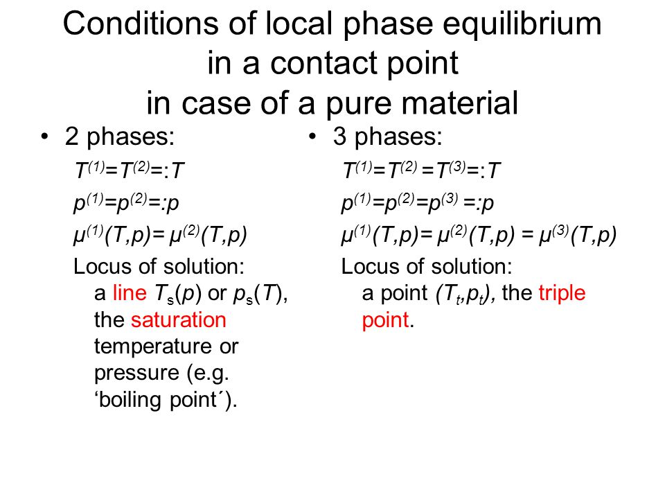 Conditions of local phase equilibrium in a contact point in case of a pure material