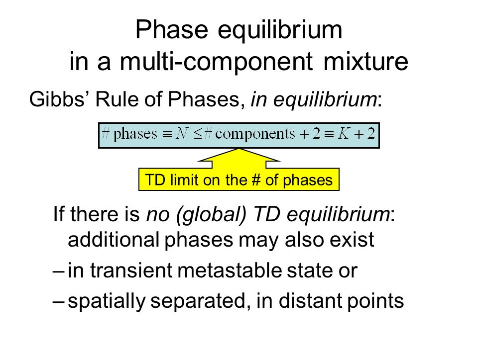 Phase equilibrium in a multi-component mixture