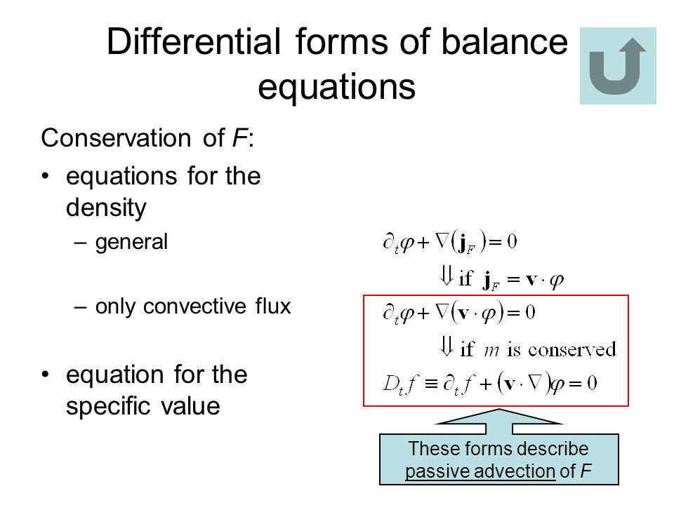 Differential forms of balance equations