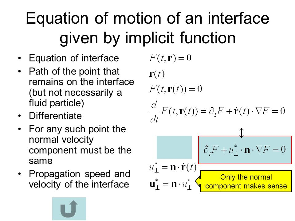 Equation of motion of an interface given by implicit function
