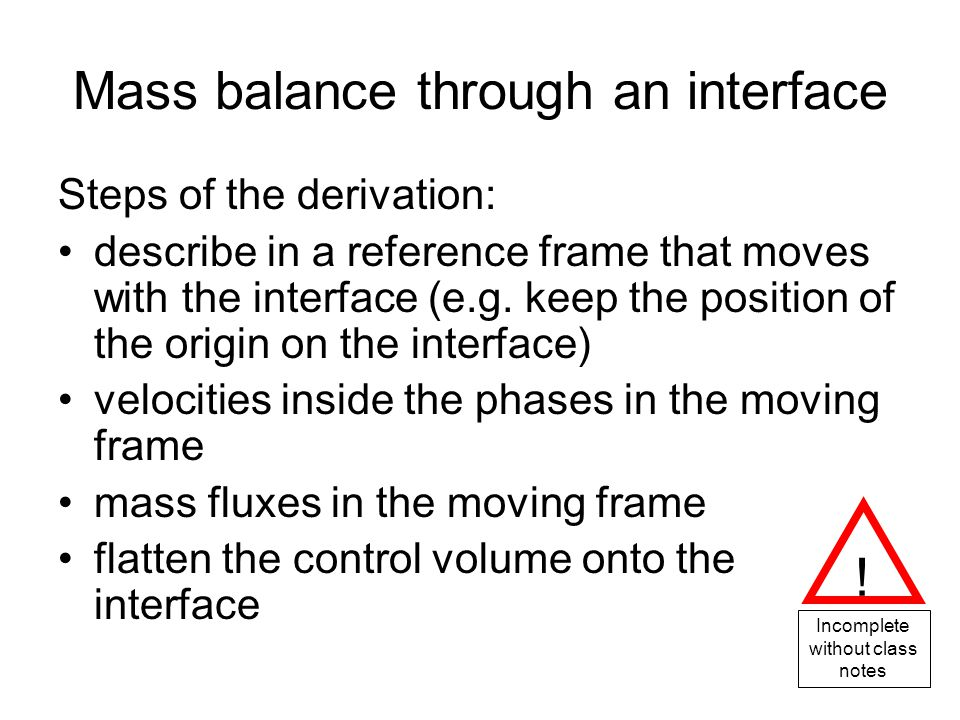 Mass balance through an interface