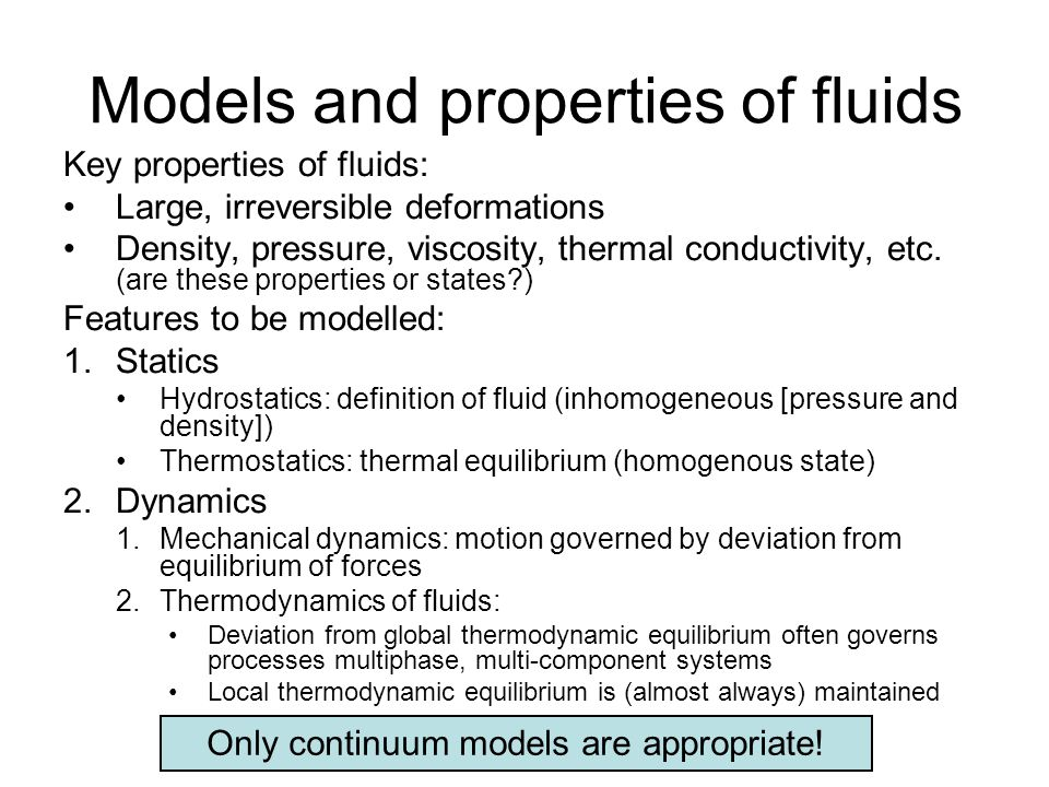 Models and properties of fluids